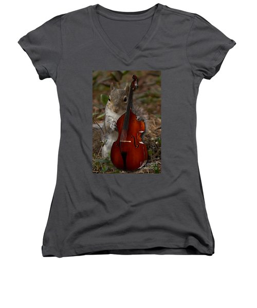 The Squirrel And His Double Bass Women's V-Neck (Athletic Fit)