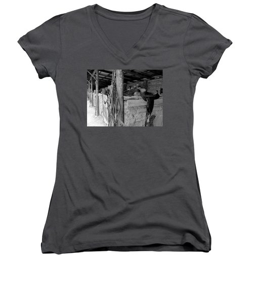 Women's V-Neck T-Shirt (Junior Cut) featuring the photograph Very Stable by Natalie Ortiz