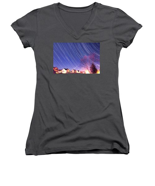 The Star Trails Women's V-Neck T-Shirt (Junior Cut) by Paul Ge
