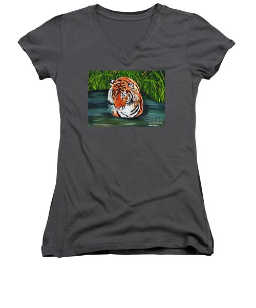 Women's V-Neck T-Shirt (Junior Cut) featuring the painting The Stare by Laura Forde