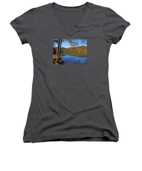 The Swimming Hole Women's V-Neck T-Shirt (Junior Cut) by Lena Auxier
