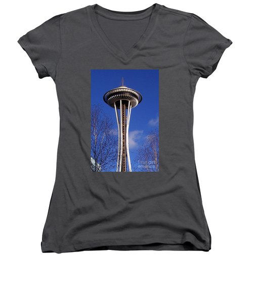 Women's V-Neck T-Shirt (Junior Cut) featuring the photograph The Symbol Of Seattle by Kathy  White