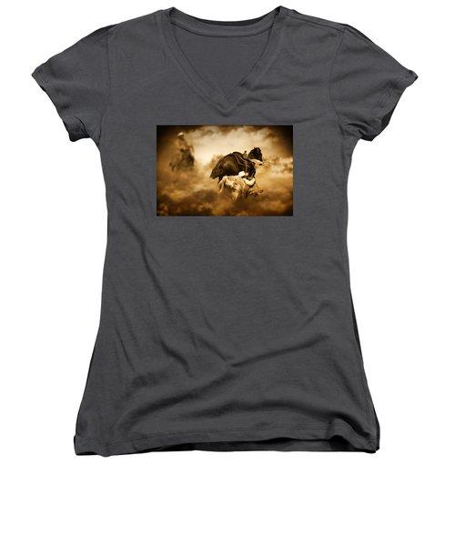 The Takedown Women's V-Neck T-Shirt (Junior Cut) by Davandra Cribbie