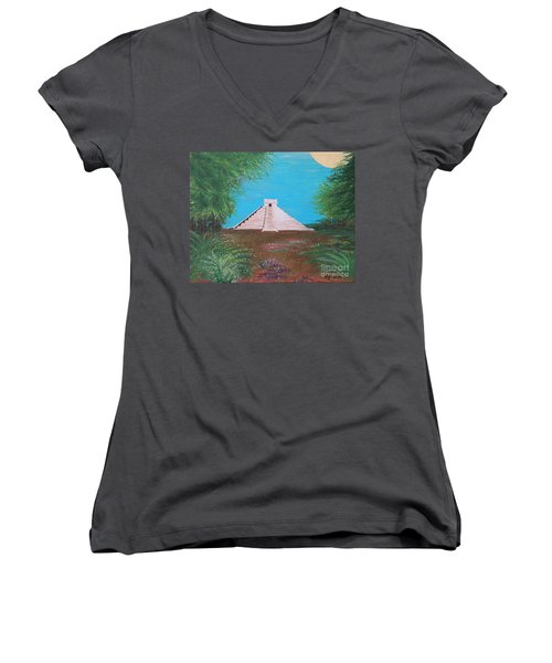 Women's V-Neck T-Shirt (Junior Cut) featuring the painting The Temple Of Kukulcan by Alys Caviness-Gober