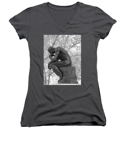 The Thinker - Philadelphia Bw Women's V-Neck T-Shirt