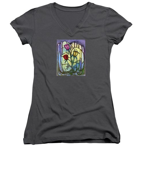 Women's V-Neck T-Shirt (Junior Cut) featuring the painting The Three Roses by Terry Webb Harshman