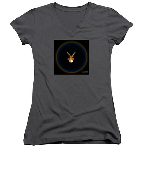 Women's V-Neck T-Shirt (Junior Cut) featuring the photograph The Tiger Has Landed by Donna Brown