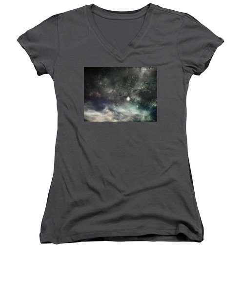 The Universe Women's V-Neck T-Shirt (Junior Cut) by Cynthia Lassiter