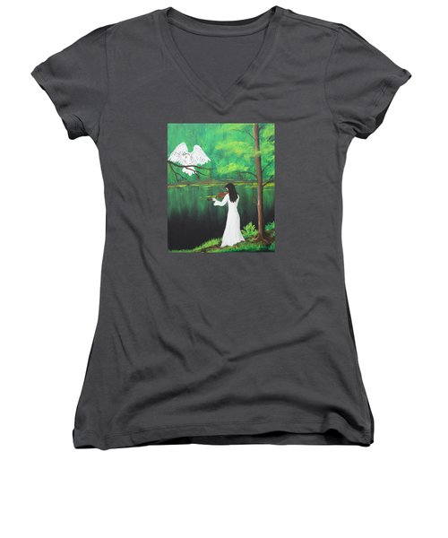 The Violinist By The River   Women's V-Neck T-Shirt (Junior Cut) by Patricia Olson
