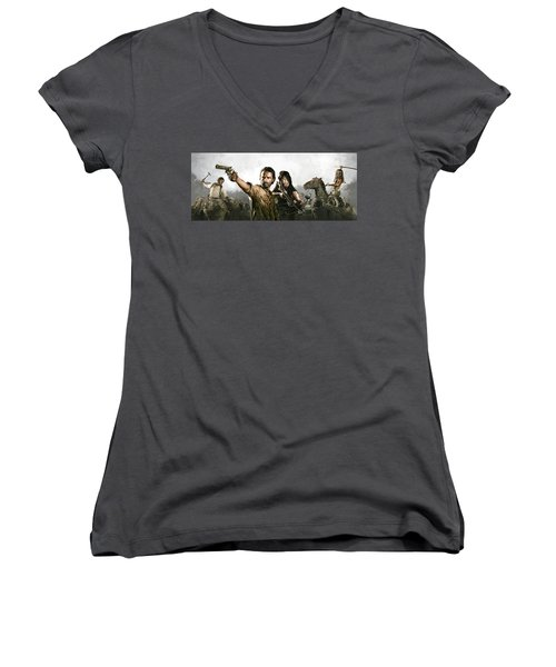 Women's V-Neck T-Shirt (Junior Cut) featuring the painting The Walking Dead Artwork 1 by Sheraz A