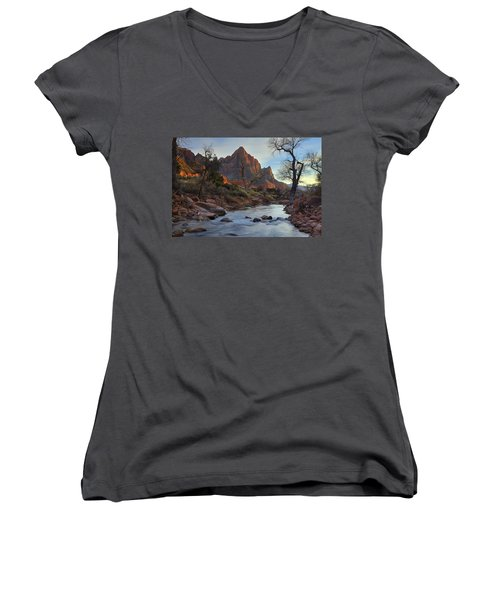 The Watchman In Winter-2 Women's V-Neck T-Shirt (Junior Cut) by Alan Vance Ley