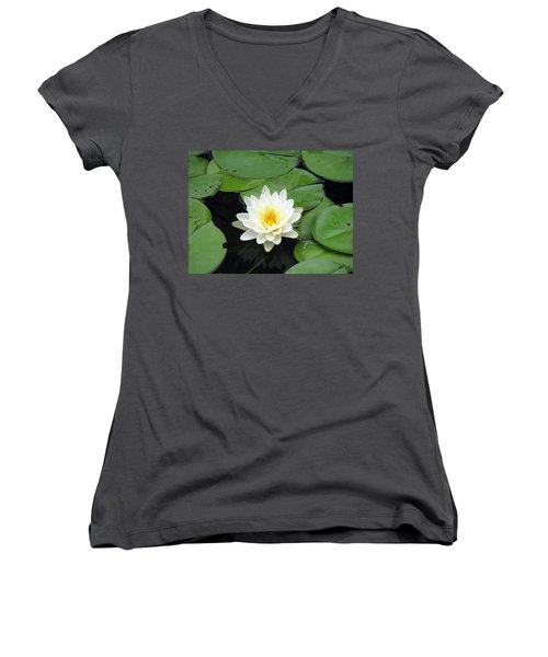 Women's V-Neck T-Shirt (Junior Cut) featuring the photograph The Water Lilies Collection - 01 by Pamela Critchlow