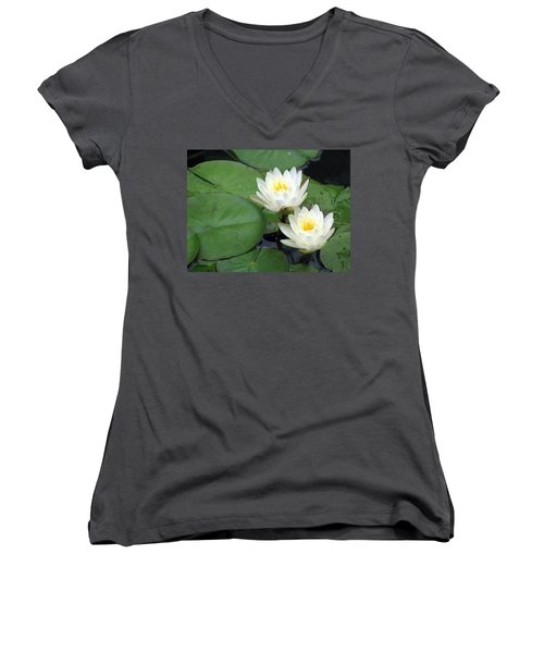 Women's V-Neck T-Shirt (Junior Cut) featuring the photograph The Water Lilies Collection - 06 by Pamela Critchlow