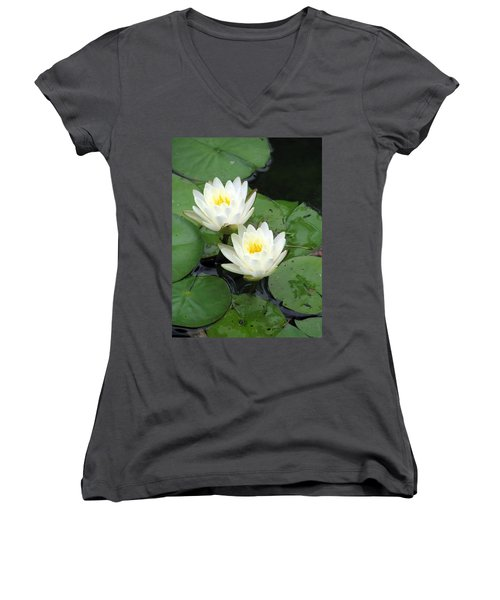 Women's V-Neck T-Shirt (Junior Cut) featuring the photograph The Water Lilies Collection - 07 by Pamela Critchlow