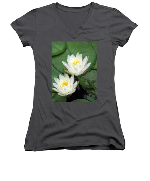 Women's V-Neck T-Shirt (Junior Cut) featuring the photograph The Water Lilies Collection - 12 by Pamela Critchlow