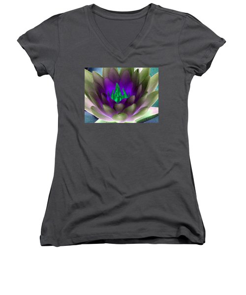 Women's V-Neck T-Shirt (Junior Cut) featuring the photograph The Water Lilies Collection - Photopower 1117 by Pamela Critchlow