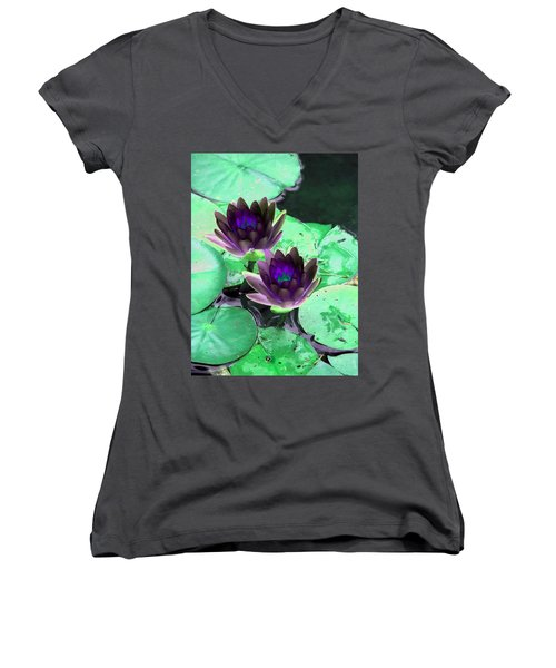 Women's V-Neck T-Shirt (Junior Cut) featuring the photograph The Water Lilies Collection - Photopower 1119 by Pamela Critchlow