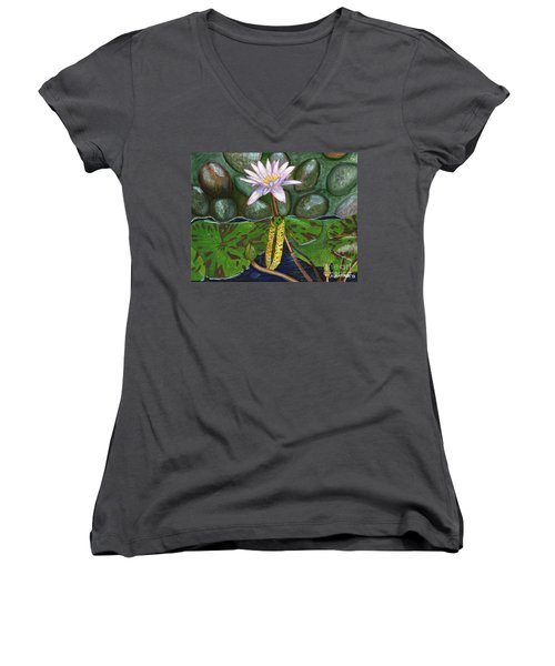 Women's V-Neck T-Shirt (Junior Cut) featuring the painting The Waterlily by Laura Forde