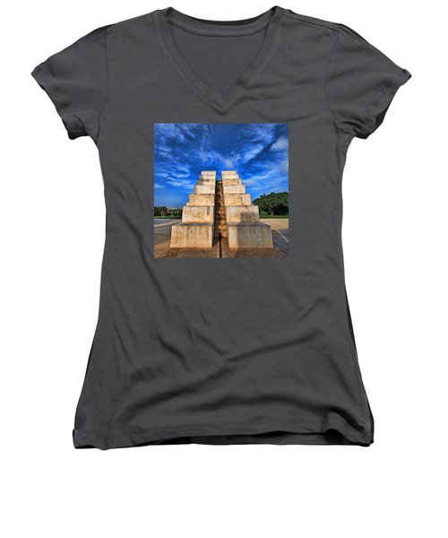 Women's V-Neck T-Shirt (Junior Cut) featuring the photograph The White City by Ron Shoshani