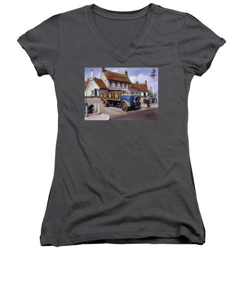 The Woodman Pub. Women's V-Neck T-Shirt