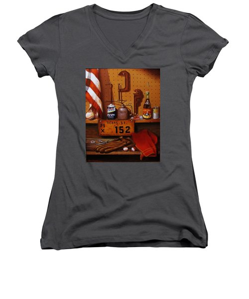 Women's V-Neck T-Shirt (Junior Cut) featuring the painting The Workshop by Gene Gregory
