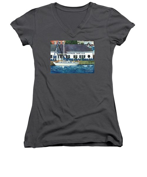 Women's V-Neck T-Shirt (Junior Cut) featuring the painting The Yacht Club by LeAnne Sowa