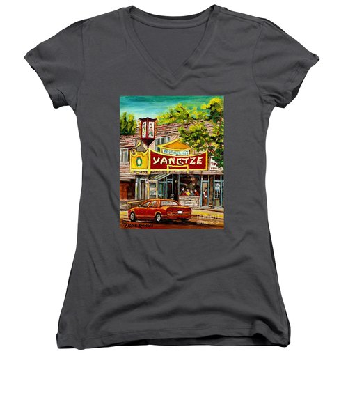 The Yangtze Restaurant On Van Horne Avenue Montreal  Women's V-Neck (Athletic Fit)