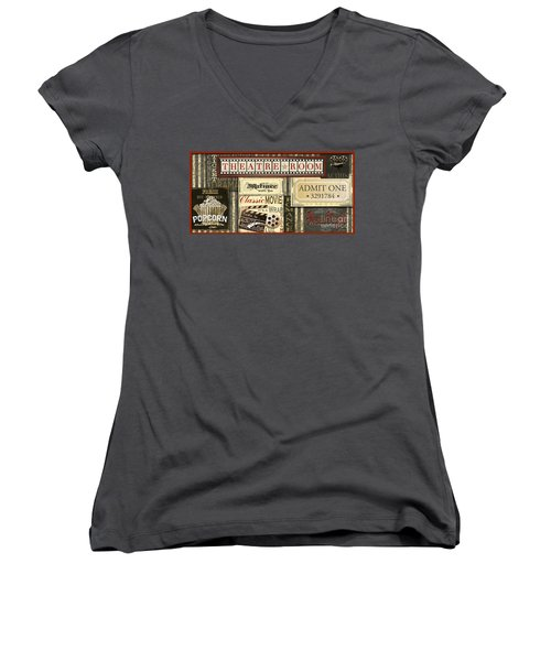 Theatre Room Women's V-Neck T-Shirt (Junior Cut) by Jean Plout