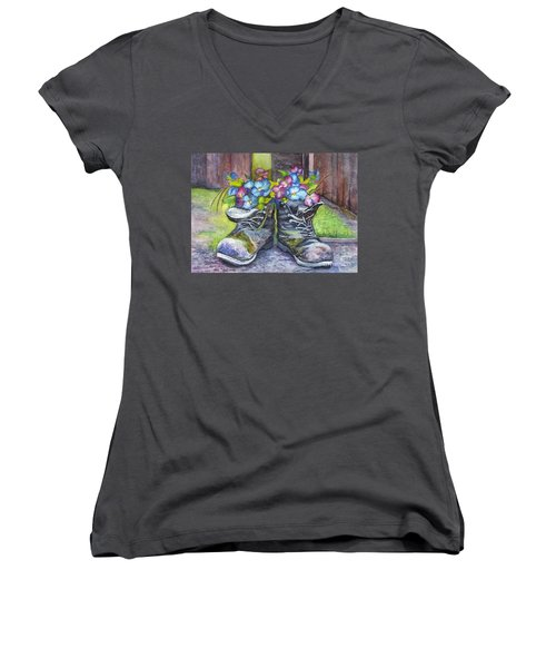 These Boots Were Made For Planting Women's V-Neck T-Shirt (Junior Cut) by Carol Wisniewski