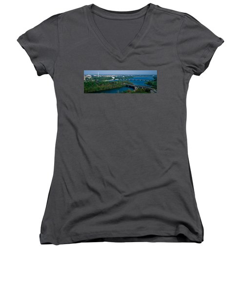 This Is An Aerial View Of Washington Women's V-Neck T-Shirt (Junior Cut) by Panoramic Images