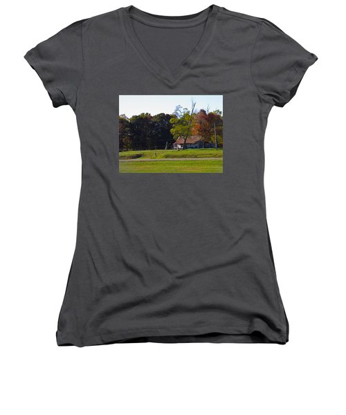 Women's V-Neck T-Shirt (Junior Cut) featuring the photograph This Old House by Nick Kirby