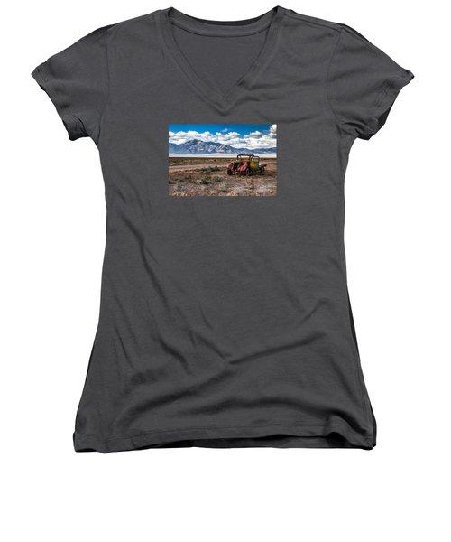 This Old Truck Women's V-Neck T-Shirt (Junior Cut) by Robert Bales