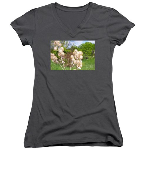 Thistle Me This Women's V-Neck T-Shirt (Junior Cut) by Mary Mikawoz