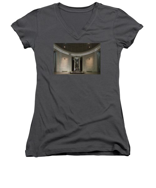 Women's V-Neck T-Shirt (Junior Cut) featuring the photograph Thomas Jefferson Memorial At Night by Sebastian Musial