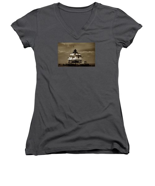 Thomas Point Shoal Lighthouse Sepia Women's V-Neck T-Shirt (Junior Cut) by Skip Willits