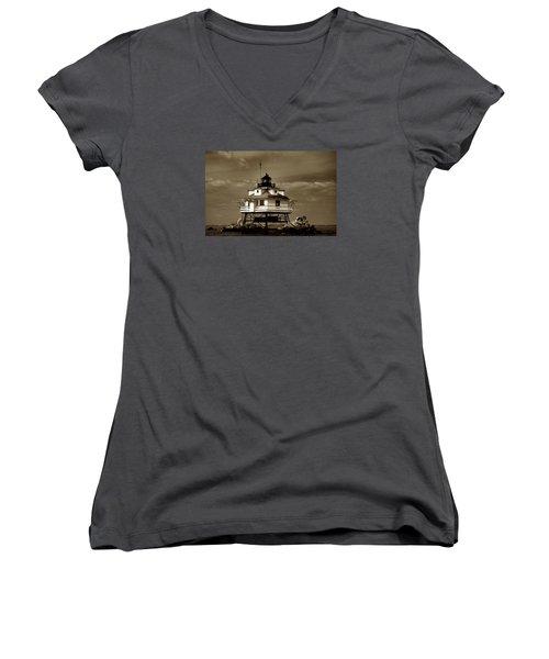 Thomas Point Shoal Lighthouse Sepia Women's V-Neck T-Shirt