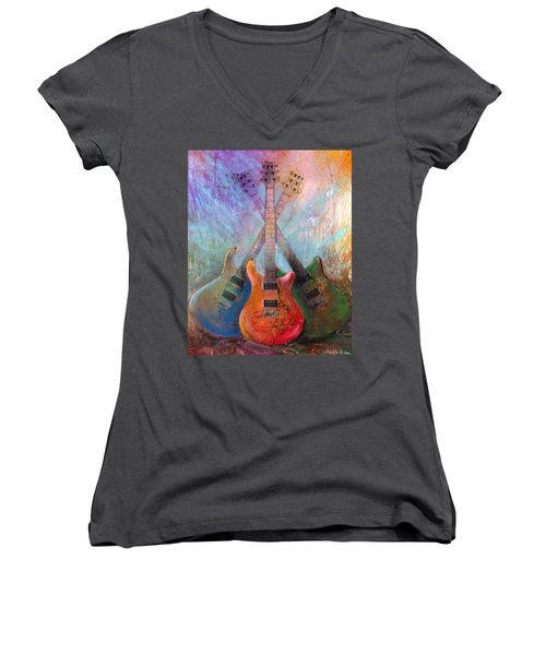 Women's V-Neck featuring the painting Three Amigos by Andrew King