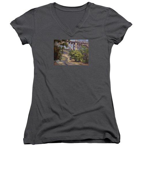 Three Bridges Women's V-Neck T-Shirt (Junior Cut) by Jane Thorpe