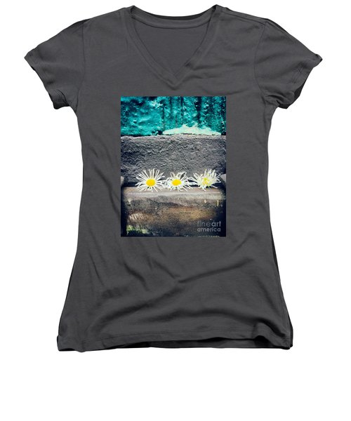 Women's V-Neck T-Shirt (Junior Cut) featuring the photograph Three Daisies Stuck In A Door by Silvia Ganora