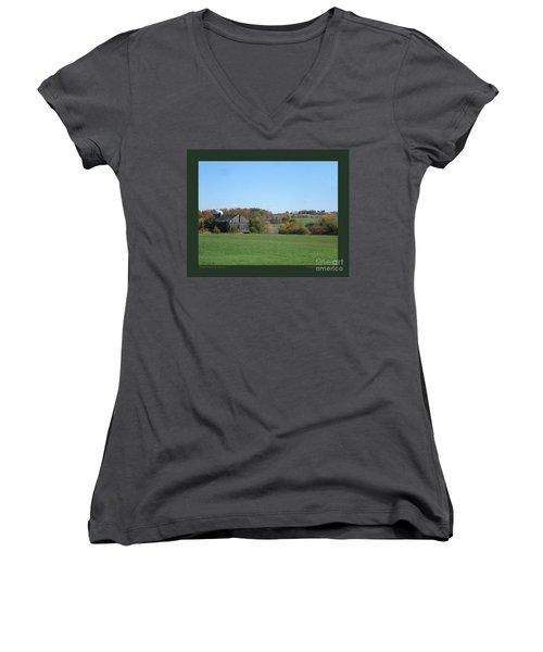Women's V-Neck T-Shirt (Junior Cut) featuring the photograph Three Farms In Autumn by Patricia Overmoyer