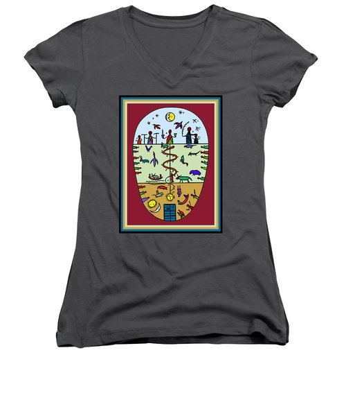 Women's V-Neck T-Shirt (Junior Cut) featuring the digital art Three Layers Of Life by Vagabond Folk Art - Virginia Vivier