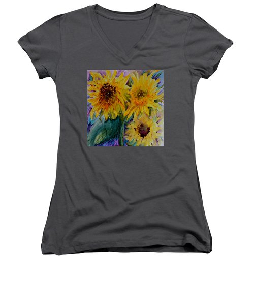 Women's V-Neck T-Shirt (Junior Cut) featuring the painting Three Sunflowers by Beverley Harper Tinsley