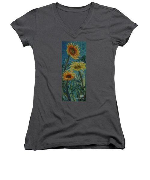 Three Sunflowers - Sold Women's V-Neck T-Shirt