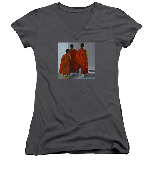 Three Young Monks Women's V-Neck