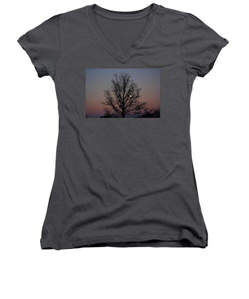 Through The Boughs Landscape Women's V-Neck T-Shirt (Junior Cut) by Dan Stone