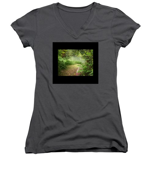 Through The Forest At Water's Edge Women's V-Neck T-Shirt (Junior Cut) by Absinthe Art By Michelle LeAnn Scott
