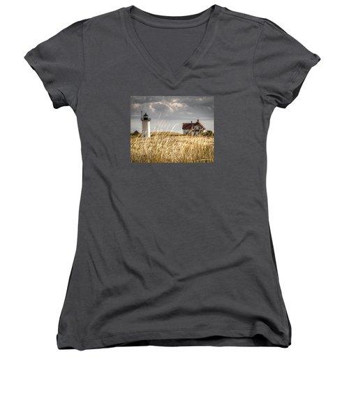 Race Point Light Through The Grass Women's V-Neck T-Shirt (Junior Cut) by Brian Caldwell