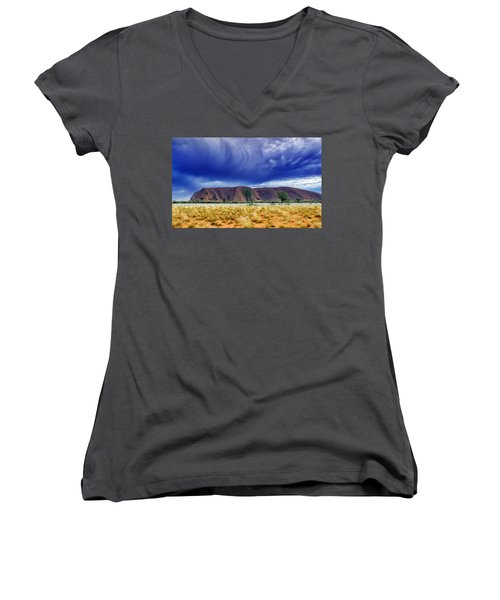 Women's V-Neck T-Shirt (Junior Cut) featuring the photograph Thunder Rock by Holly Kempe
