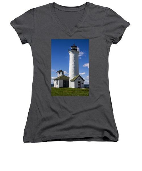Tibbetts Point Lighthouse Women's V-Neck T-Shirt (Junior Cut) by Ben and Raisa Gertsberg