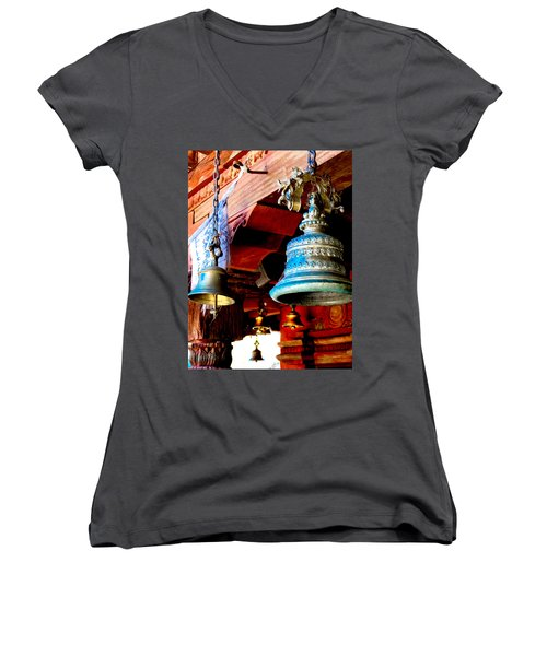 Tibetan Bells Women's V-Neck T-Shirt (Junior Cut) by Greg Fortier